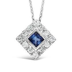 White Gold Pendant With Blue Sapphire And Natural Diamonds